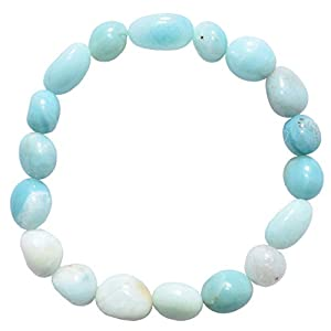 Zenergy Gems Charged Amazonite Crystal Bracelet Tumble Polished Stretchy + Selenite Heart Charging Crystal Included (Empowering Courage & Truth - Move Beyond Fear Healing Energy)
