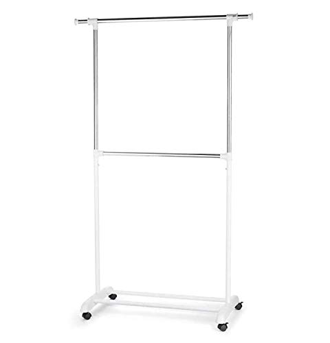 TYPE A Portable Clothes Rack | Freestanding Garment Rack with Rails for Extra Storage & No Tool Assembly | Perfect for Your Bedroom, Office or Home | 2 Hanging Rods, White & Silver