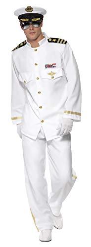 Smiffys Herren Kapitän Deluxe Kostüm, Jackett, Hose, Mütze und Handschuhe, Größe: M, 33690