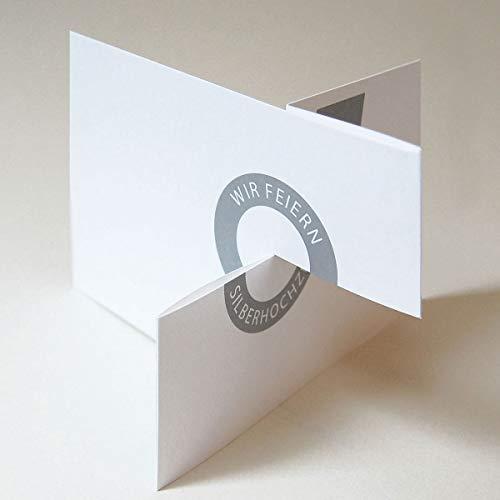 10 Einladungskarten, Michael Marschall: Wir feiern Silberhochzeit, Karten inkl. silbernem, gefüttertem Umschlag