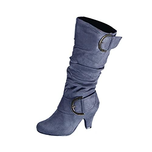 YWLINK Mujer CóModo TacóN Medio Botas Plisada Mujer Botas Largas De Gamuza Casual Tacones Aguja Altos Zapatos OtoñO Invierno Retro Botas Altas Calentar Moda Negra Botas Con Hebilla (Gris, 38)