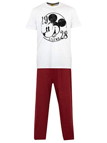 Disney Herren Mickey Mouse Schlafanzug Weiß Large