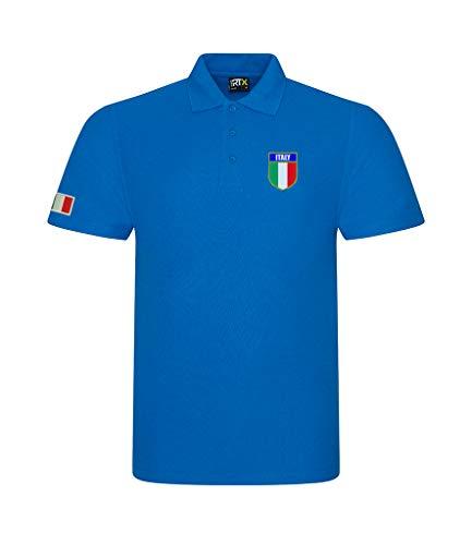 Super Lemon Poloshirt, italienisch, für Erwachsene, Rugby, Retro, Vintage, Unisex, Blau, für alle italienischen Rugby-Fans für 6 Nationen und WM, erhältlich bis XS – 7 XL Gr. 58, blau