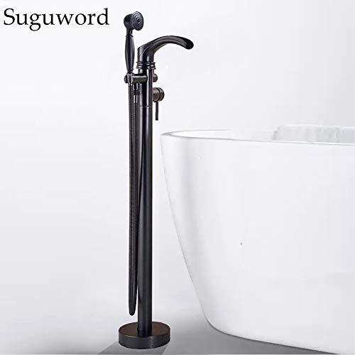 SUGU Schwarz Freistehende Badewanne Wasserhahn Wanne Mischbatterie mit Handbrause die Bodenmontage Badezimmer