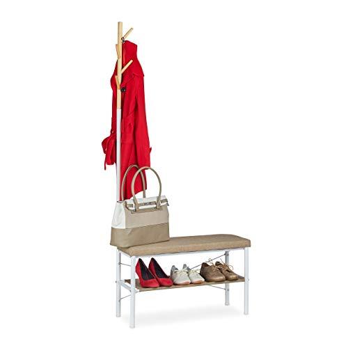 Relaxdays Perchero Banco Zapatero Recibidor Estante para Zapatos, Acero y DM, 167 x 75 x 32 cm, Blanco y Beige