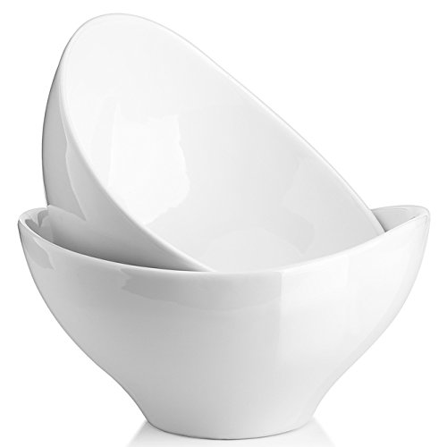 DOWAN Salad Bowls Set of 2, 1.4 Quarts Serving Bowls, Ceramic Bowls for Pasta, Soup, fruit, Side Dishes, 8 Inches, White