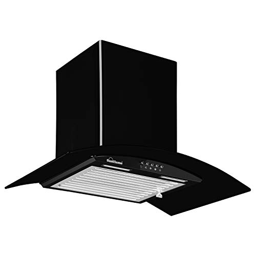 Sunflame 60 cm 1100 m³/hr Curved Glass Kitchen Chimney, BELLA 60 BK