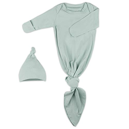 Baby Knotted Gown, Super Soft Newborn Cotton Infant Long Sleeve Sleeper for Baby Girl and Boy Sleepwear with Mittens and Hat Set (Extra Long), Gender Neutral First Outfit Pajama Clothes Grey Green