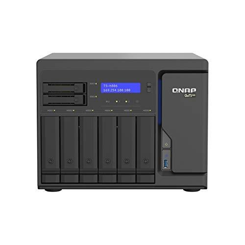 Qnap TS-H886-D1622-16G 8 Bay Desktop-NAS-Gehäuse, Netzwerkspeicher mit 4 x 2.5GbE Ports, 6 x 3.5-inch Drive Bays & 2 x 2.5-inch SATA Drive Bays