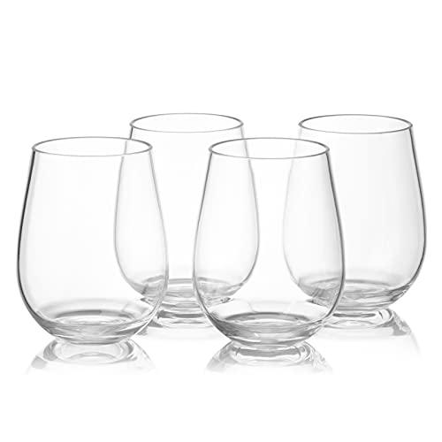 FUFRE Juego de 4 copas de vino blanco de plástico, sin tallos de 450 ml, duraderas, reutilizables, irrompibles, para el hogar, la oficina, los bares