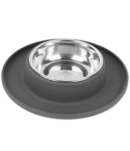 Dehner Hundenapf Clean Bowl, 350 ml, Ø 24 cm, Höhe 4 cm, Edelstahl/Silikon, dunkelgrau
