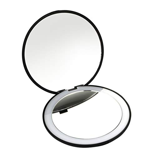 Best Travel Mirror- 10X Magnifying Mirror with Light- Small Compact Mirror for Pocket- Portable LED Lighted Makeup Mirror, Foldable Travel Mirror 1X & 10X Magnification