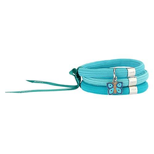 THUN - Bracciale elastico azzurro Impulse 'Farfalle in festa' con farfalla (Blue)