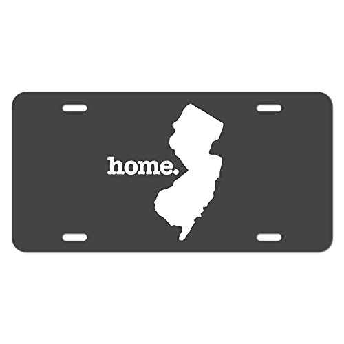 Graphics and More New Jersey NJ Home State Novelty Metal Vanity License Tag Plate - Solid Dark Grey Gray