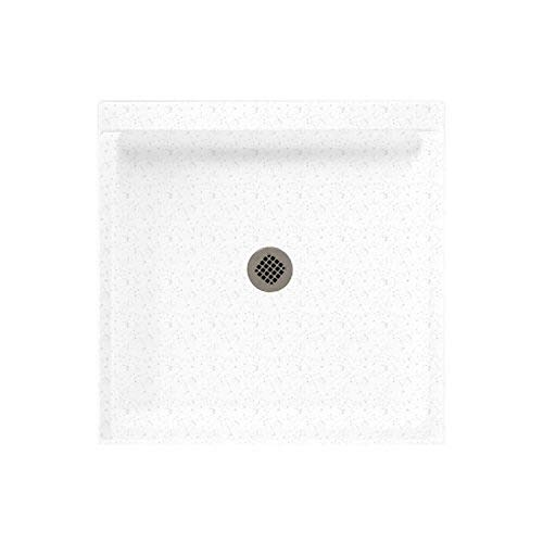 Swanstone SS-3232-035 Solid Surface Center Drain Shower Base, 32-in L X 32-in H X 5.5-in H, Arctic Granite