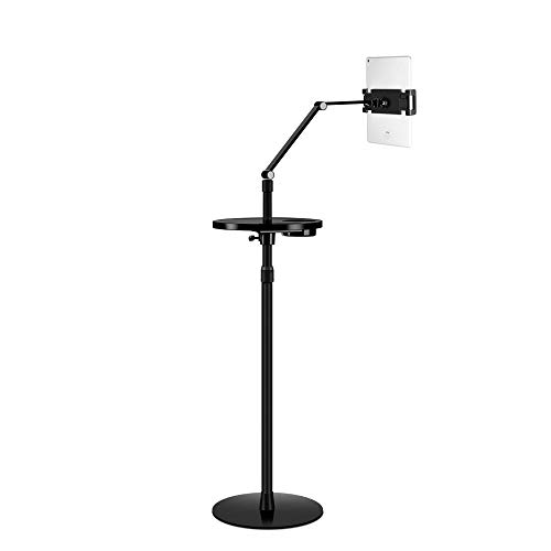 Black Aluminum Alloy Ipad Stand for Filming,Height Adjustable 66.7-163/26.3-64.2in Ipad 2 Tripod Mount for 4.7~10.5' Pad Air Pro Mini, Samsung Tab, Phone, Nintendo Switch, More Devices