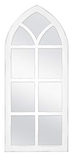 MCS Cathedral Windowpane Wall, White, 19x44 Inch Overall Size Mirror,