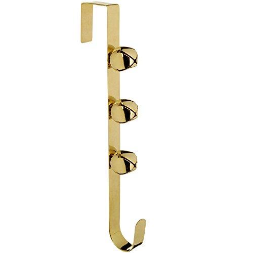 WeRChristmas kerstdecoratie klokken krans deur haken, 37 cm - goud