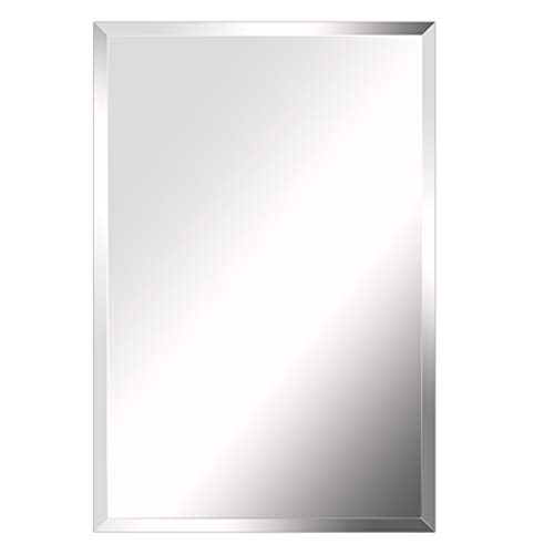 MIRROR TREND Premium Large Frameless Wall Mirror with Streamlined 1 Inch Bevel -