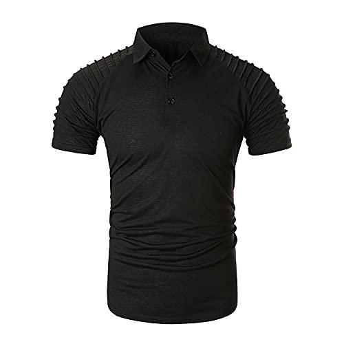 CFWL Camiseta De Manga Corta Camisa Polo De Hombre Informal con Pliegues En Los Hombros De Color SóLido...
