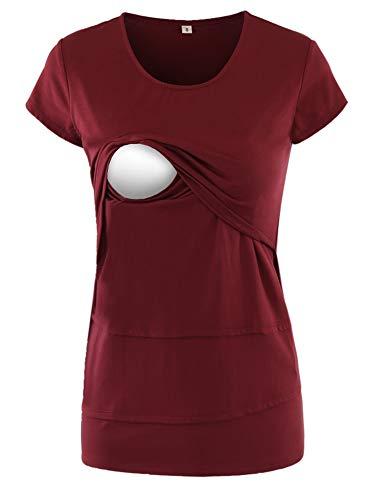 Love2Mi Frauen Umstandsmode Layered Unregelmäßige Pflege Shirt Stillshirt Kurzarm zum Stillen, Weinrot, XL