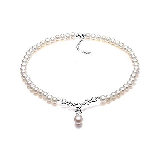 VIKI LYNN Brautschmuck Damen Kette Hochzeit Perlenkette Perlen HalsKette Weiß mit klar Kristall und Sterling Silber 925