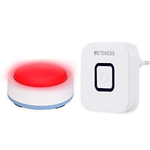 Retekess TH004 Alerta al Paciente Buscapersonas Rojo Cuidador Botón de Pánico Fácil de Encontrar Señal de Prensa Pared Cruzada 433MHz 52 Melodía para Personas Mayores Seguridad Llamada de Emergencia