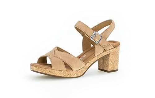 Gabor Damen Sandalen, Frauen Sandaletten,Comfort-Mehrweite, Sandaletten Sommerschuhe offene Absatzschuhe hoher Absatz,Caramel (Kork),38 EU / 5 UK