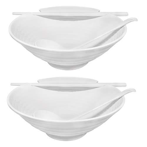2 x Ramen Bowl Set (White Melamine), 6pcs Japanese Style Soup Bowls Set with Chopsticks, Ladle Spoons Set and Large 37 oz Bowl for Ramen, Pho, Noodles, Asian dishes - Patent Pending