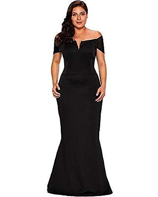 LALAGEN Women's Plus Size Off Shoulder Long Formal Party Dress Evening Gown Size XXL (Black)