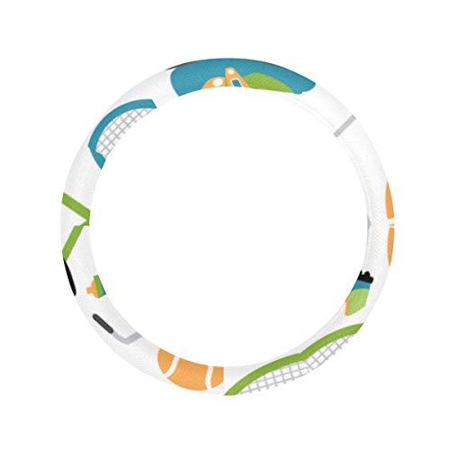 Lenkradabdeckung Schutz Badmintonschläger und Tennisschläger Herren Lenkradabdeckung mit rutschfestem Einsatz Universal 15 Zoll für Frauen Herren Mikrofaser Lenkradabdeckung
