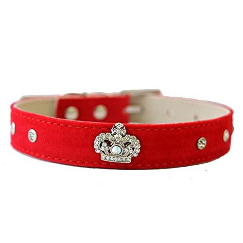 Collar de Perro con Tachuelas de Cristal a la Moda, Rosa, Negro, Rojo, Terciopelo, Cuero, Diamante, corazón, Accesorio, pequeño Cachorro, Productos para Mascotas, Rojo, S