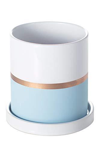 Ekirlin 植木鉢 陶器鉢 おしゃれ 受け皿付き 鉢 観葉植物 多肉植物鉢 サボテン鉢 室内 底穴付き プランター 4号 10.6cm 4つサイズ選択 インテリア ブルー