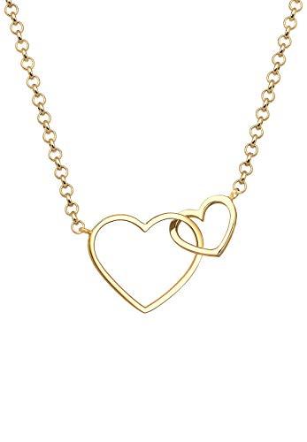 Elli Halskette Damen Herz Liebe in 925 Sterling Silber vergoldet
