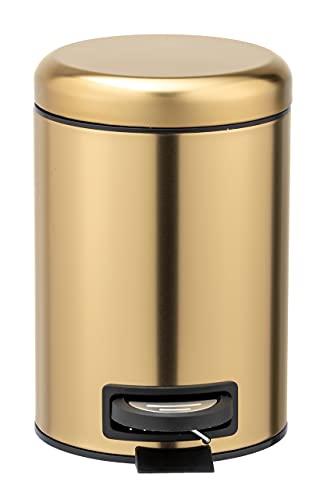 WENKO Kosmetik Treteimer Leman Gold matt 3 L - Kosmetikeimer, Mülleimer mit Anti-Fingerprint Fassungsvermögen: 3 l, Edelstahl rostfrei, 17 x 25 x 22.5 cm, Gold
