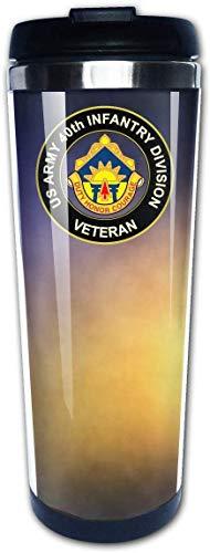 ngfh quan junxiasx Tasse à Café Mug Café,U.S. Army 40th Infantry Division Veteran Portable Coffee Cup Travel Mug 13.5 Oz Graphique Tasse de Voyage à café Isolée en Acier Inoxydable