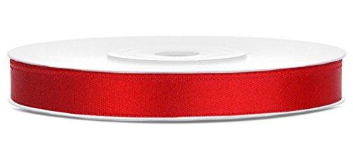 Partydeko 25m x 6mm Rolle Satinband Geschenkband Schleifenband Dekoband Satin Band Antennenband (Rot (007))