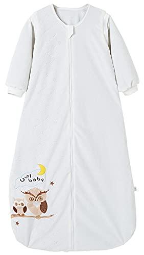 Chilsuessy Babyschlafsack Baby Ganzjahres Schlafsack mit abnehmbaren Ärmeln für Säugling Kinder Schlafsack Schlafanzug aus 100% Baumwolle, Weiß/2 Tog, 110/Baby Höhe 95-115cm