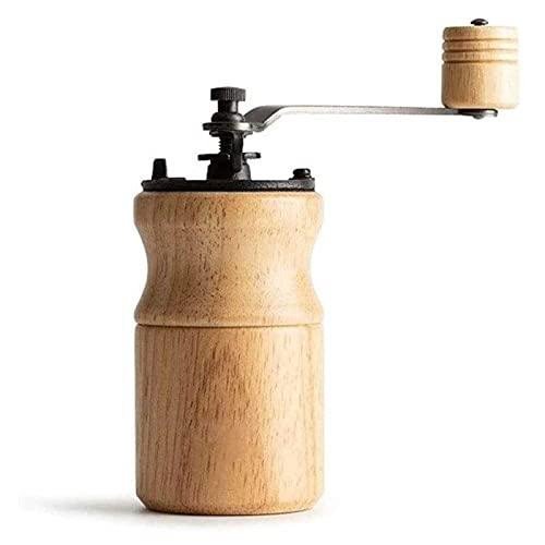 Adesign Molinillo de café Manual - Grano de café de la Mano con ajustes Ajustables - Molino de café de Madera Molino de café con muela de Hierro Fundido - Molino de manivela portátil