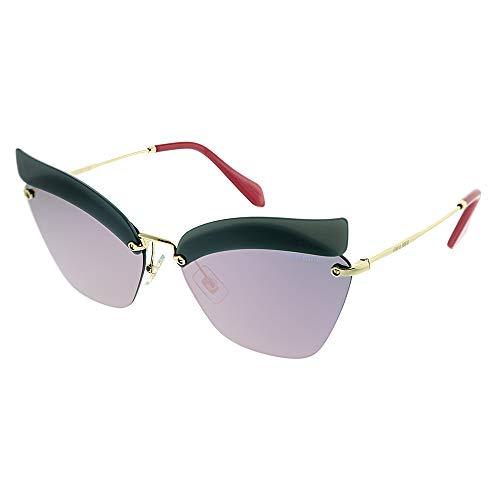 Miu Miu Damen 0Mu56Ts I18147 63 Sonnenbrille, Blau (Opal Dark Blue/Darkgreymirrorpink)