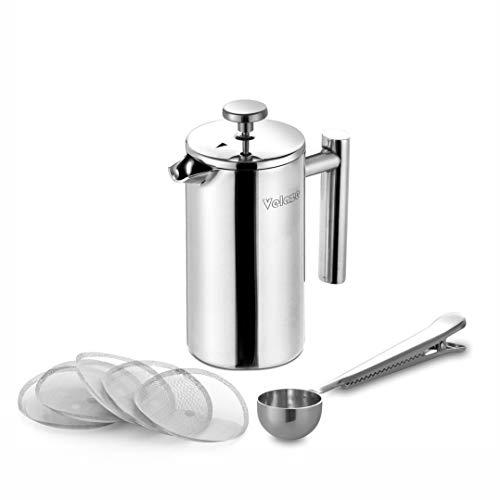 Velaze, Edelstahl Kaffeebereiter, 0,35 L, Kaffeepresse für 2 Tassen, Doppelwandig, Cafetiere Kaffee Kanne mit 5 Ersatzsiebe und Löffel