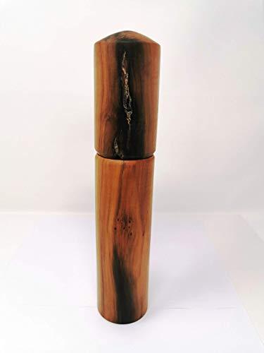 Woodenarts Pfeffermühle – Salzmühle - Gewürzmühle aus altem Apfelholz mit einem hochwertigen Keramikmahlwerk – Länge ca. 28 cm – Breite ca. 5,5 cm