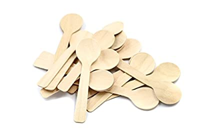 COOBL 3.9 Inches Mini Kitchen Wooden Ice Cream Dessert Spoons Disposable Wood Cutlery Tableware