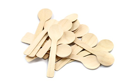 COOBL 3.9 Inches Mini Kitchen Wooden Ice Cream Dessert Spoons Disposable Wood Cutlery Tableware,Pack of 100