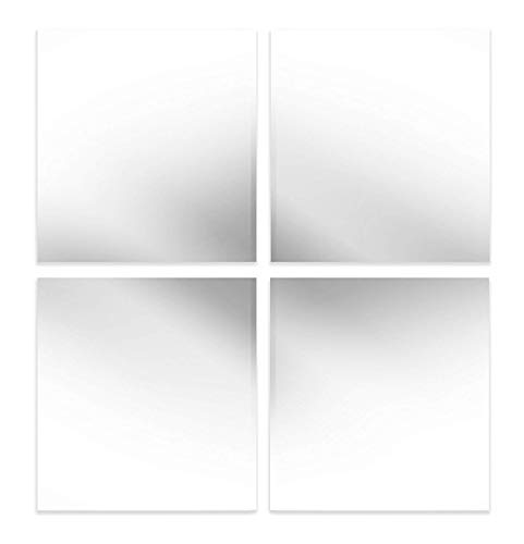 EDGEWOOD Parkwood Wall Mirrors Flexible Real Glass Flat Frameless 4-Piece Set, 11.5x11.5 Inches