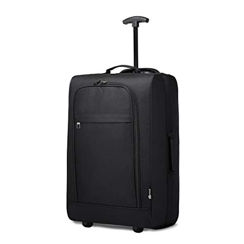Kono Double Wheel Cabin Approved Trolley Bag Lightweight Soft Shell Hand Luggage (Black)