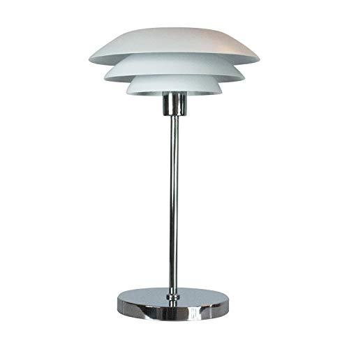 Dyberg Larsen DL 31 Weiß mit Chromfuß Skandinavische Tischlampe / moderne Tischleuchte / Design Nachttischleuchte mit Metallschirm Durchmesser: 31 cm Höhe: 50 cm chrom