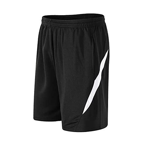 YMMONLIA Pantalones Cortos Deportivos Hombre Verano Algodón Bermuda Shorts Deporte Bolsillo con Cremallera Cordón Elástico Running Correr Fútbol