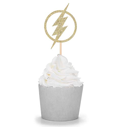 24 CT Gold Glitter Flash Cupcake Toppers for Superhero Theme Party Decoratings