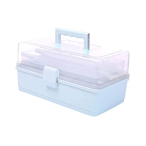 Felenny Caja de Almacenamiento de Plástico de Tres Capas de Plástico Transparente Caja de Almacenamiento Multiusos Portátil de Medicina con Asa de Medicamentos Cosméticos Juguetes